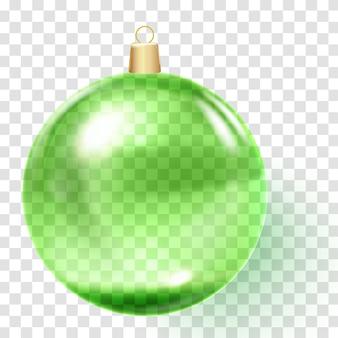Palla di vetro verde realistica. ornamento di natale verde.