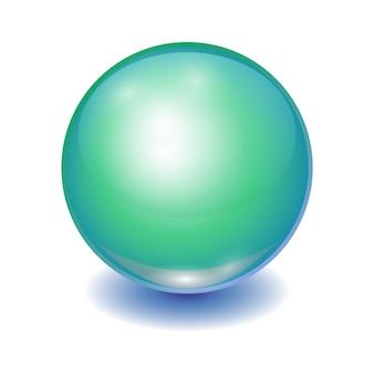 Palla multicolore verde realistica, sfera lucente con patch