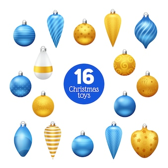 Palle d'annata blu e dorate dell'albero di natale con gli ornamenti
