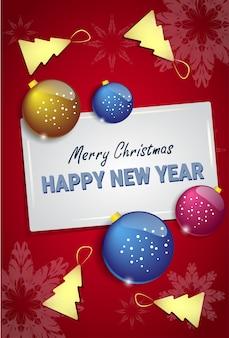 Palle di albero di natale su happy new year greeting card design vacanze cartolina d'inverno