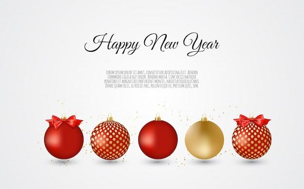 Palle di natale decorative oro e rosso, sfondo di capodanno,