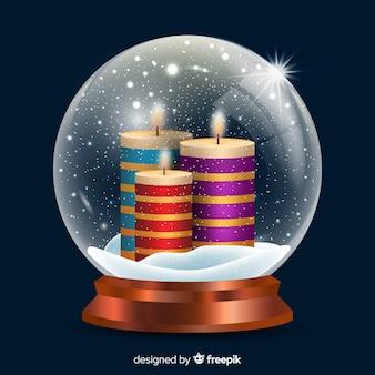 Palle di neve di natale candele realistiche
