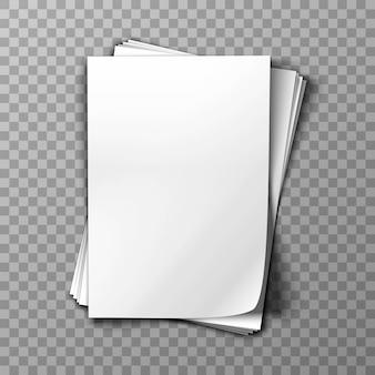Pallido di carta bianca su sfondo trasparente.