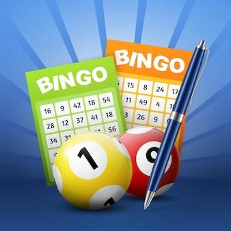 Palline e biglietti della lotteria del bingo con numeri, penna