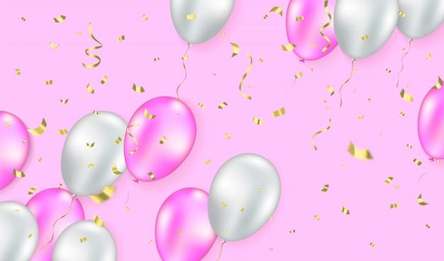 Palloncini bianchi e rosa e scintillii e coriandoli glitter su sfondo rosa.