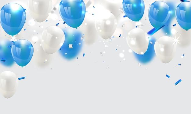 Palloncini blu celebrazione sullo sfondo