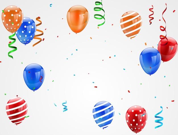 Palloncini colorati coriandoli e nastri,