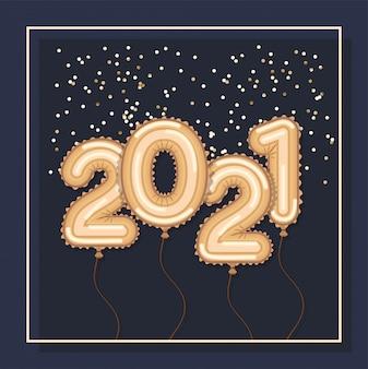 Palloncini d'oro in cornice di felice anno nuovo
