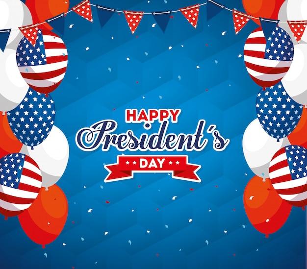Palloncini di auguri felice giorno di presidenti degli stati uniti
