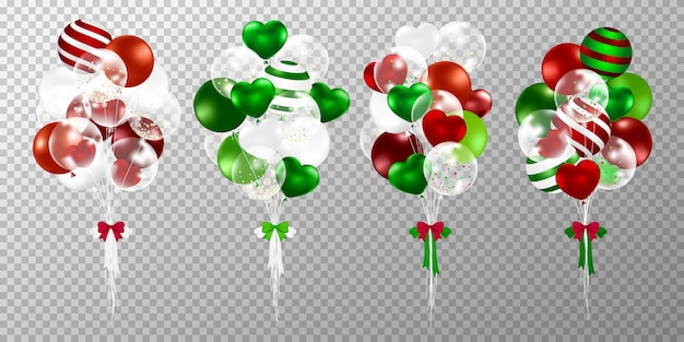 Palloncini di natale su sfondo trasparente.