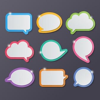Palloncini di testo con diverse forme