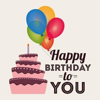 Palloncini di torta di auguri di buon compleanno carta invito