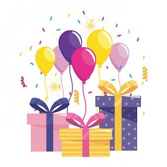 Palloncini e regali di buon compleanno