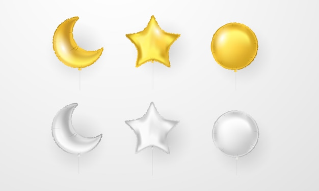 Palloncini festa di celebrazione. set di palloncini d'oro e d'argento