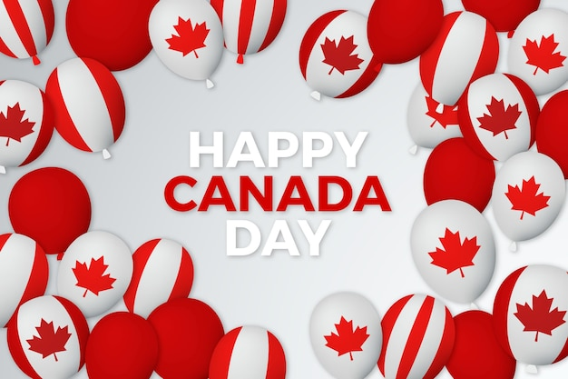 Palloncini giorno canada con sfondo di bandiere