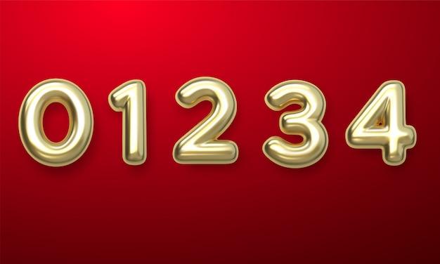 Palloncini golden number da 0 a 4. palloncini foil e in lattice. palloncini ad elio. festa, compleanno, festeggiare anniversario e matrimonio