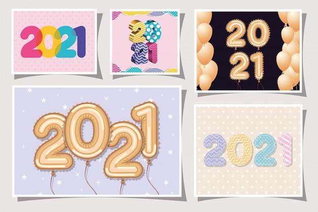 Palloncini multicolori e oro in cornici di felice anno nuovo