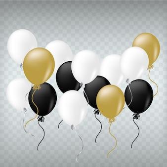 Palloncini realistici bianco nero e dorato.