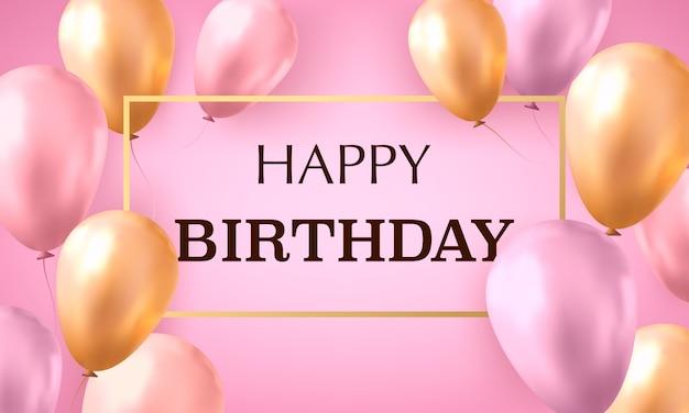 Palloncini realistici oro e rosa riempiti con elio su sfondo rosa con testo buon compleanno.