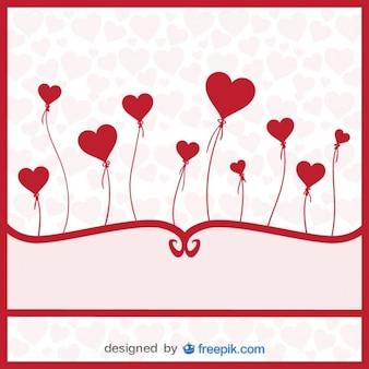 Palloncini vettore cuori - carta di amore