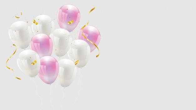 Palloncino color rosa e bianco, confetti e nastri dorati. biglietto di auguri di lusso ricco.