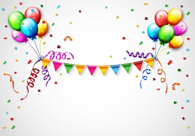 Palloncino di compleanno con sfondo di coriandoli