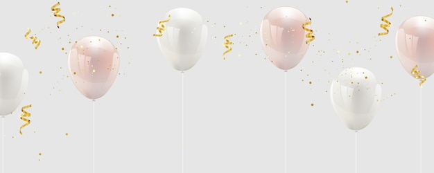 Palloncino rosa e coriandoli bianchi e nastri d'oro.