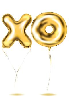 Palloncino xo-lettere in lamina d'oro