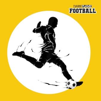 Pallone da calcio calcio in posa sagoma fiamma scura
