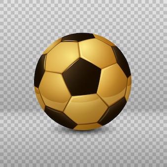 Pallone da calcio dorato dettagliato isolato