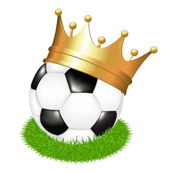 Pallone da calcio in erba con corona, su sfondo bianco, illustrazione