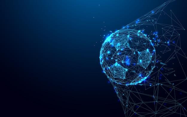Pallone da calcio in forma di obiettivo linee di particelle