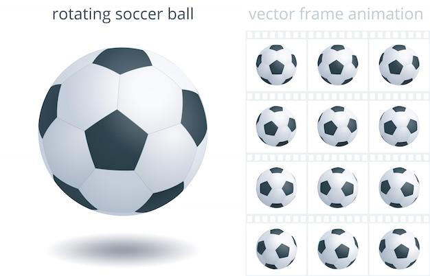 Pallone da calcio rotante. oggetto realistico 3d. 12 fotogrammi al secondo. sequenza di fotogrammi.