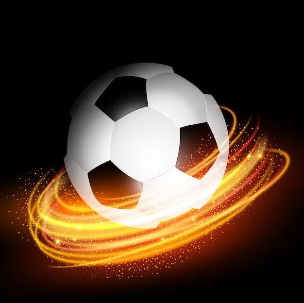 Pallone da calcio su sfondo di linee incandescente