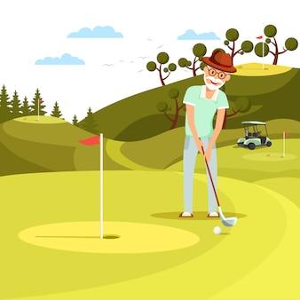 Pallone da golf sparato uomo invecchiato concentrato al foro.