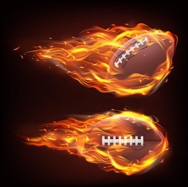 Pallone da rugby volante nel fuoco