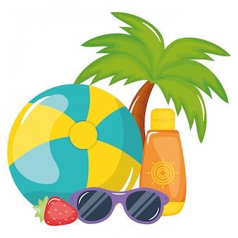 Pallone da spiaggia con blocco solare e occhiali da sole