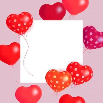 Palloni ad aria cuori illustrazione di vacanza di cuori palloncino e banner di carta.