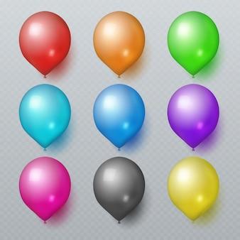 Palloni di gomma realistici variopinti per l'insieme di vettore della decorazione di festa di compleanno. la mongolfiera di colore per la festa di compleanno celebra l'illustrazione