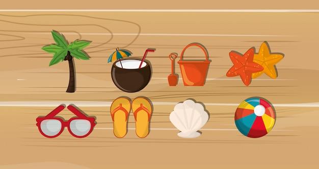 Palma con l'immagine delle icone di viaggio di vacanza