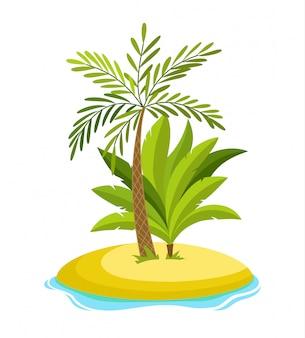 Palma tropicale sull'isola con le onde del mare