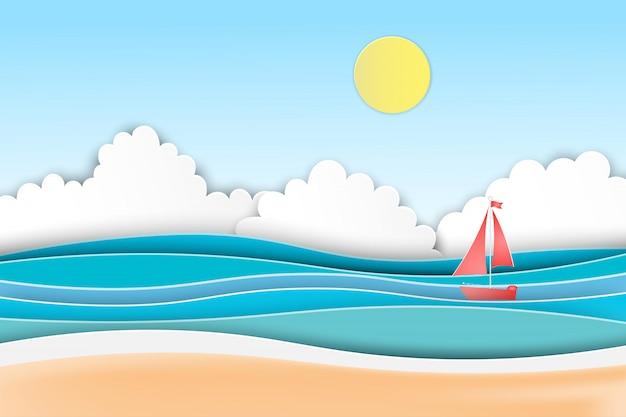 Palme della spiaggia di estate sulla spiaggia con la barca.