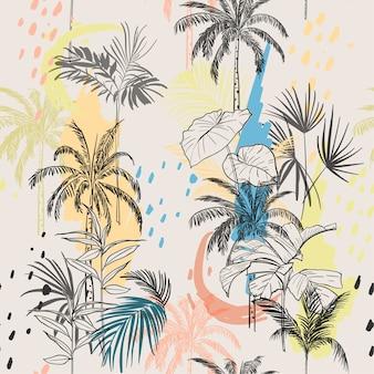 Palme disegnate a mano e foglie