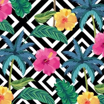Palme tropicali con sfondo di fiori e foglie