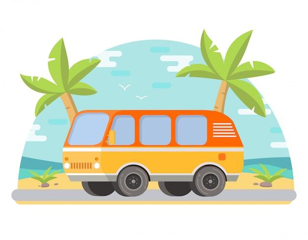 Palme tropicali del paesaggio sulla spiaggia il furgone della spiaggia sabbiosa.
