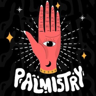 Palmistry con mano e zodiaci