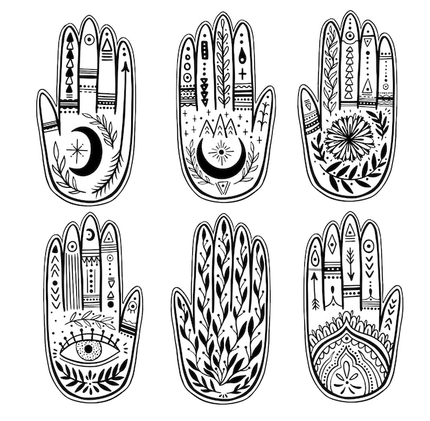 Palmistry del set di mani