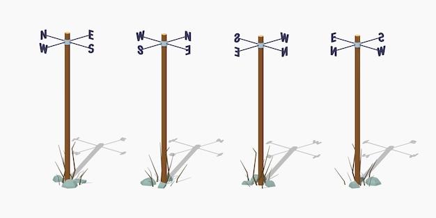 Palo di navigazione illustrazione isometrica di vettore lowpoly 3d.
