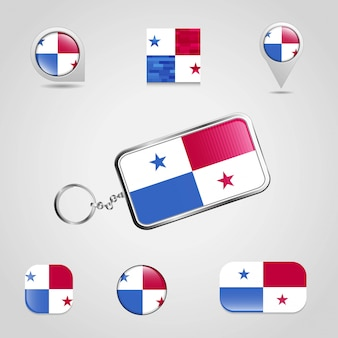 Panama country flag su keychain e mappa pin stile diverso
