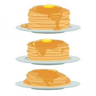 Pancake con set di miele e burro